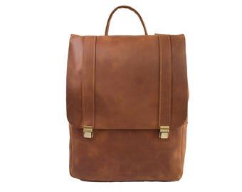 Top handle bag, brown backpack, womens daypack, cool backpack, work leather handbag, daypack backpack, rucksack, handmade handbag, backpack