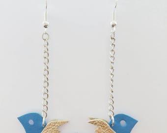 Blue swallow leather - handmade earrings