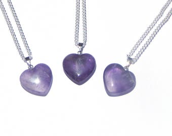 Amethyst Heart Necklace, Amethyst Crystal Necklace, Amethyst Necklace, Amethyst Crystal Pendant, Heart Necklace, Amethyst Crystal Heart