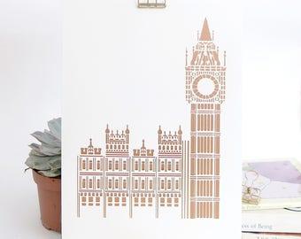 London prints, A4 Big Ben prints, London landmark print, Gift for traveller, Gift for London lovers, London gift, London illustration