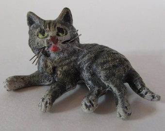 Antique Austrian Vienna Cold Painted Bronze Cat