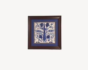 Turkish Hand Made Ceramic Tile with Wooden Frame