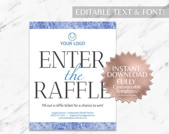 Blue Marble and White Hair Salon and Monat Business Enter the Raffle Sign INSTANT Template