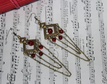 Bronze and red earrings