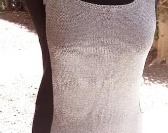 Silver & Black tank top.Sparkle knit tank top.Elegant knit tank top.Sparkle halter top.Glittery knit tank top.Dark Silver and Black tank top