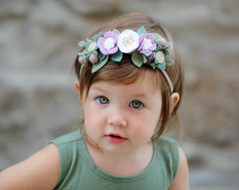 Flower Crown, Purple and Gold, Baby Headband, Felt Flower Crown Headband, First Birthday Headband, Baby Shower Gift, Girl headband