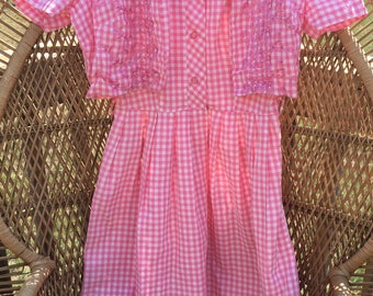 50's Vintage Pink And White Gingham Sleeveless Summer Dress w/ Short Sleeve Jacket