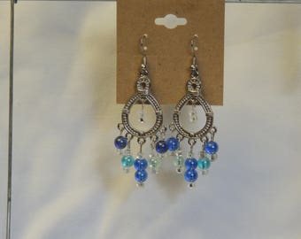 Blue Bead Chandelier Earrings