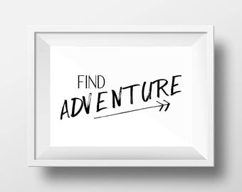 Adventure Awaits Printable Wall Art, Adventure Poster, Typography Print, Inspirational Art, Digital Print, Adventure Quote, Wall Art, Home