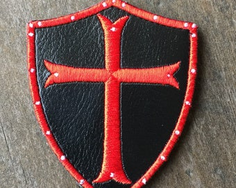Black PU Leather SHIELD red CROSS Morale patch with hook and loop backing Templar Knight warrior Sword