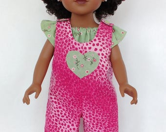 Doll clothes for 18 inch doll, Doll Overalls/Top/Sunhat, Doll's 3-piece outfit, Handmade to fit 18 inch doll similar to American Girl doll