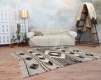 Handmade Rug, Gray And White Wool Area Rug, Geometric Pattern Rug, Modern  Home