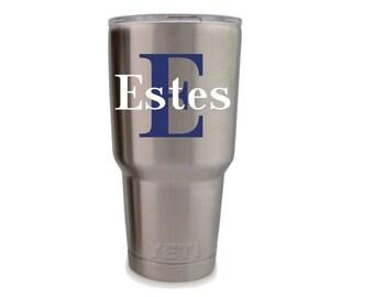 Monogram for men, Yeti decal for men, etsy decals, custom decals, cup monogram, personalized cup, custom yeti cup, monogram laptop sticker