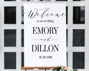 Wedding Welcome Sign Printable | Wedding Welcome Sign | Greenery Wedding Sign | Printable Wedding Sign | Greenery Wedding Decor | Sineage
