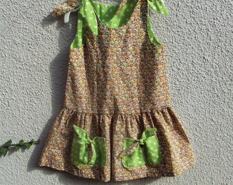 Summer dress girl, with ties, low gathered waist, 100% cotton liberty