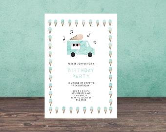ICE CREAM TRUCK Birthday Invitation, birthday party invitation,  printable, printable invitation, stationary, download,