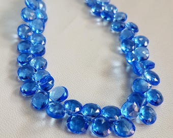 Hydro Quartz faceted Heart shape beads , 6x6.5 mm to 7x8 mm size Heart , 8 inch strand approx