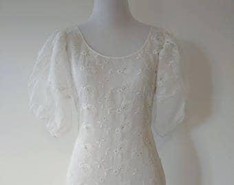 Vintage 1930's White Eyelet Gown | 1930's Gown | 1930's Dress |