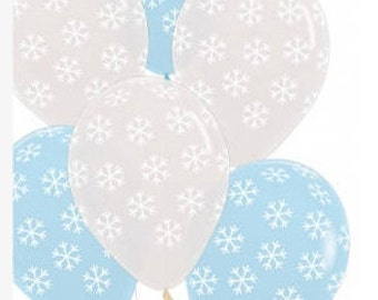 Snowflake Printed Balloons, Frozen Party, Christmas in July Theme.