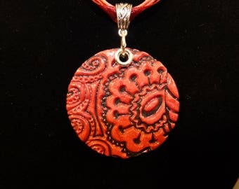 Red polymer clay pendant necklace