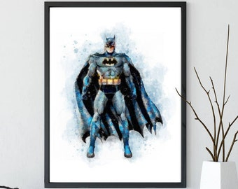 Batman print, batman poster, batman wall art, batman watercolor, batman wall decor, superhero print, boys nursery print, batman painting