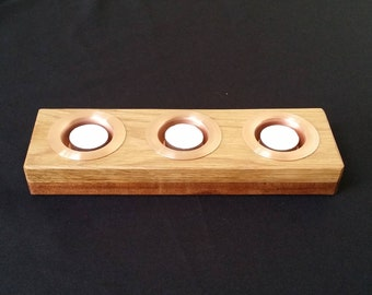 Oak & Sapele Tea Light Holder With Copper Or Brass Inserts