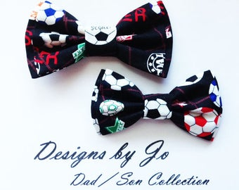 Bow Tie,Dad and Son Bow Ties, Soccer Bow Tie, Father Son Bow Ties, Mens Bow Tie, Groomsmen Bow Tie, Ring Bearer Bow Tie, Boys Bow Tie  DS693