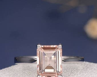 Morganite  Ring Emerald Cut Engagement Ring White Gold Pink Unique Minimalist Engagement Ring Solitaire Anniversary Antique Wedding Ring