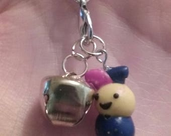 Polymer clay jester and bell charm
