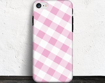Pink Gingham iPhone 7 TOUGH Case - Pattern with Pink and White - iPhone 7 Plus tough Case