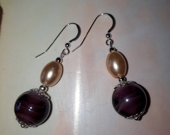Amethyst glass bead and peach pearl drop earrings sterling silver hook wires