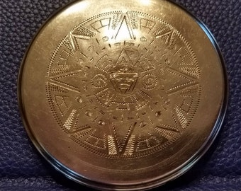 Sterling Silver Compact with Aztec Design
