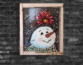 Snowman on Recycled Window