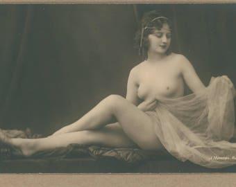Sea Pearl Veiled I | 1920's Parisian Erotica | Photographer Mandel | Antique Sensual Postcard | Reclining Nude Brunette Beauty | Risqué |
