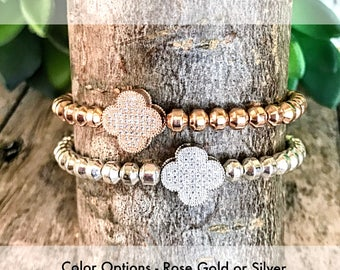 Four Leaf Rose Gold Or Silver Beaded Bracelets, Natural Hematite Stone Metallic Beads, Stretch Bracelet, Rose Gold Jewelry or Silver Jewelry