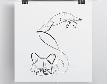 French Bulldog and Fox Print, The Quick Brown Fox, One Line Animal, Simple Fox Art, Frenchie Print, Bull Dog Print, Dog Drawing, Fox Pangram