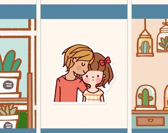 Cute Couple Stickers, Romantic stickers, Kawaii girl stickers, Kawaii love couple stickers, Love stickers, going out stickers  (LOLA048)
