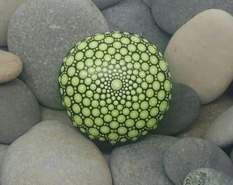 Green Painted Stone - Lime Painted Rock - Mandala Stone - Meditation Mandala Rock - Unique Home Decor - Dotilism - Paperweight