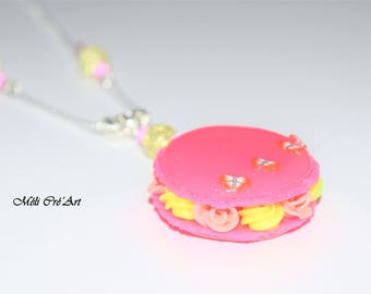 Necklace delicious macaroon chantilly rose yellow butterflies