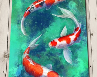 Koi fish print etsy for Japanese koi fish painting