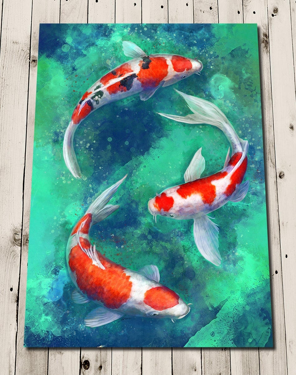 Koi fish print koi poster painting koi print koi for Japanese fish painting