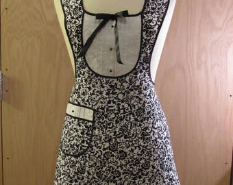 Black and White fancy apron