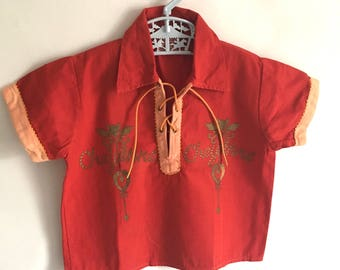 Cheyenne shirt Red: Vintage Childs 1970s western shirt.