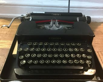 Vintage Antique Black Corona Typewriter - Floating Shift - Case - Working!