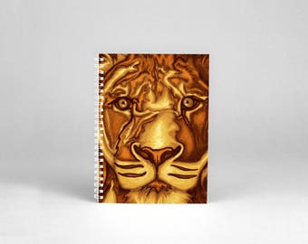 Portrait of lion printed on A4 notebook for drawing sketches - reproduction art painting digital painting lion - birthday present leo