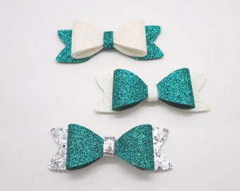 St. Patrick's Day Set Silver Green White Baby Headband, Glitter Baby Bows, St Patty Headband