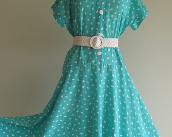 Vintage Mint Green Cotton Tea Dress