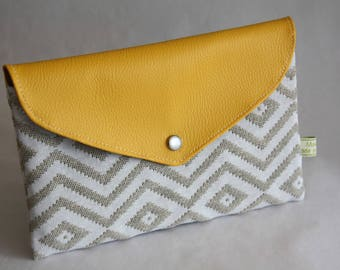 Ethnic pattern and yellow faux leather wallet