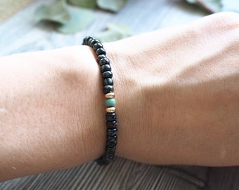 Seed Bead Bracelet Black Gold Stacking Bracelet Beaded Bracelet Boho Style Gift