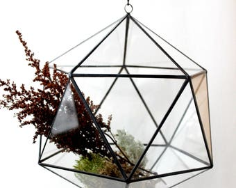 Icosahedron Planter, Hanging terrarium, Geometric Terrarium Container, Handmade Glass Terrarium, Stained Glass Terrarium, Hanging garden